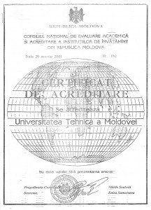 Certificatul de acreditare academică a Universității Tehnice a Moldovei, eliberat în anul 2001