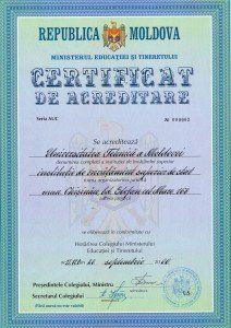 Certificatul de acreditare academică a Universității Tehnice a Moldovei, eliberat în anul 2006