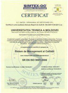 Certificatul de conformitate al Sistemului de Management al Calității, implementat și menținut la UTM, conform standardului ISO 9001:2008