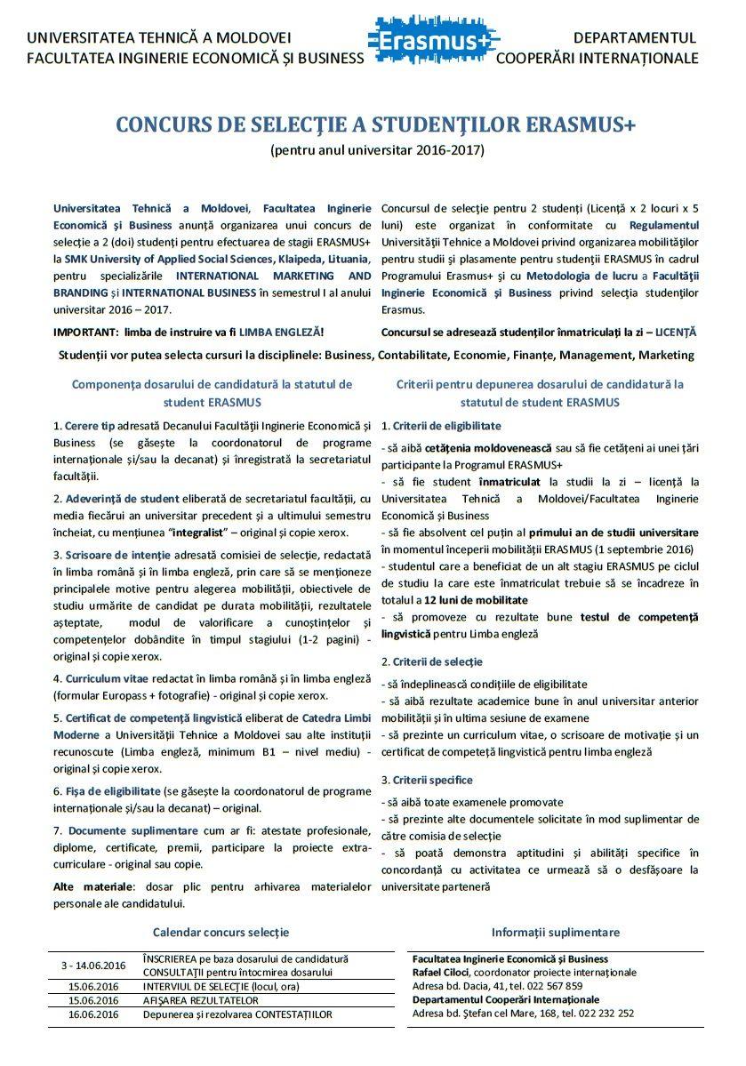 Concurs ERASMUS